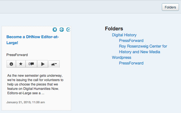 Screenshot of the folders pane opened in All Content