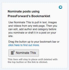 Screenshot of the Nominate This bookmarklet as it appears in All Content