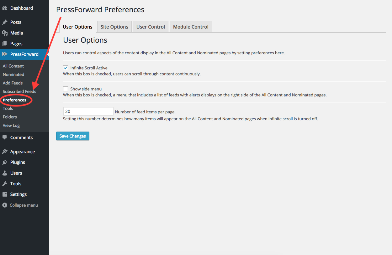 Screenshot of the Preferences panel with an arrow pointing to the Preferences tab in the PressForward menu