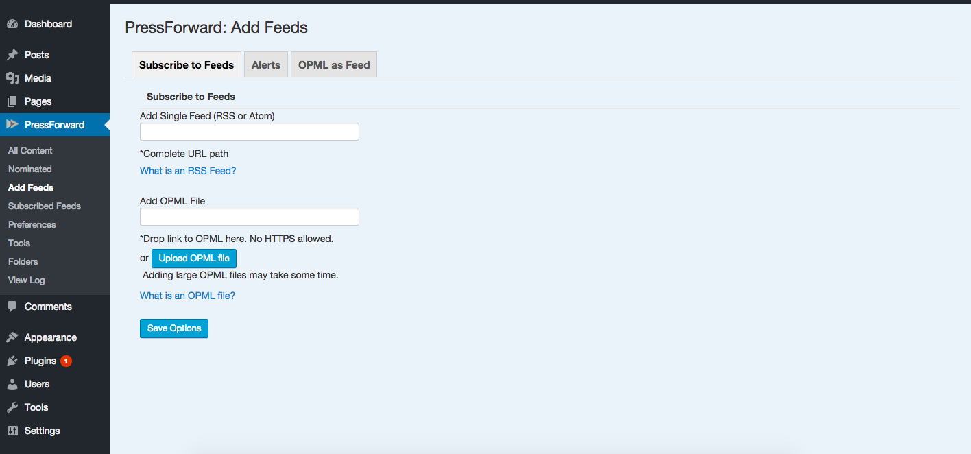 Screenshot of the Add Feeds panel